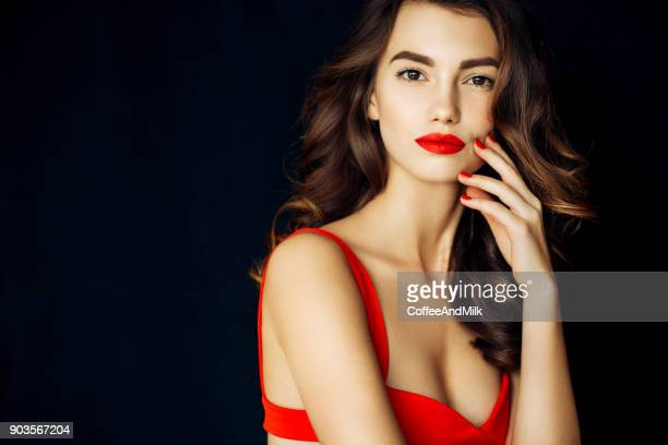 young beautiful woman - red lipstick stock photos and pictures