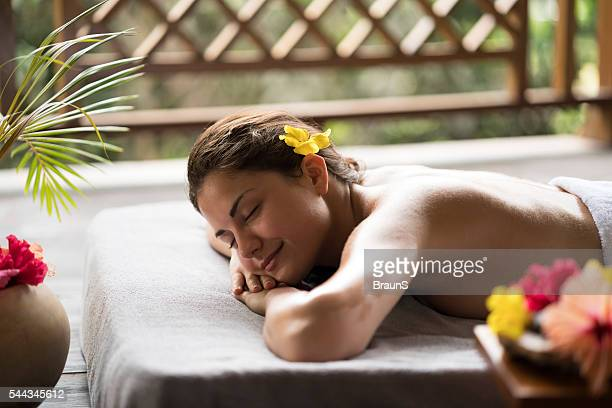 Young beautiful woman relaxing while waiting for her spa treatment.