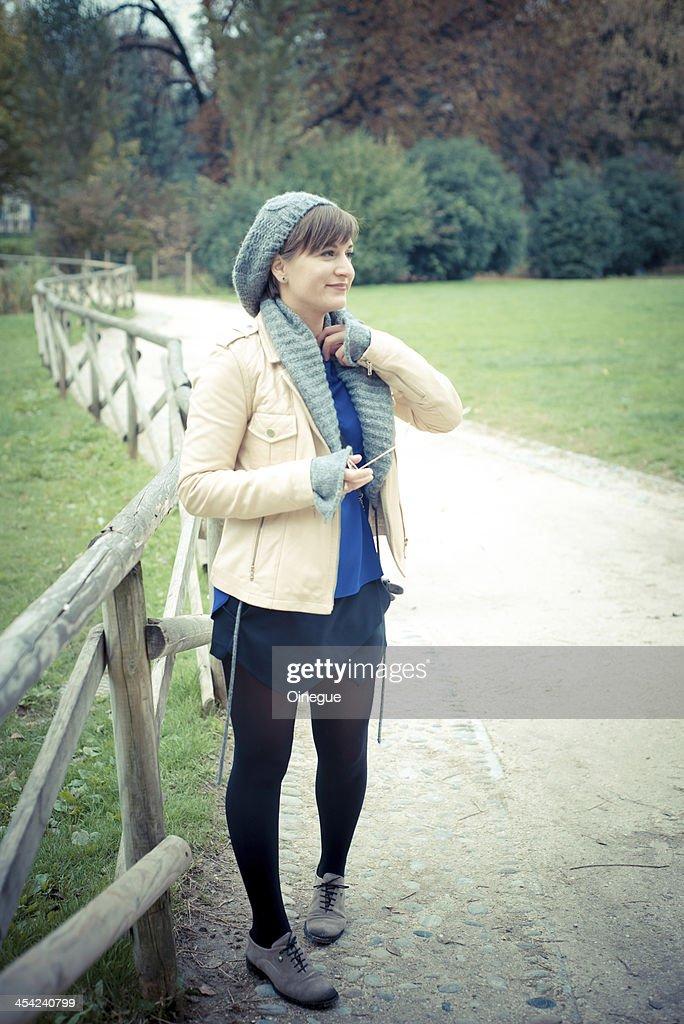 young beautiful woman walking : Stock Photo