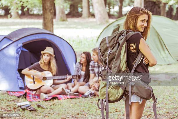 young beautiful woman with backpak - pjphoto69 stock pictures, royalty-free photos & images