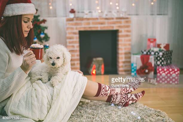 Young beautiful woman with dog in a Christmas setting
