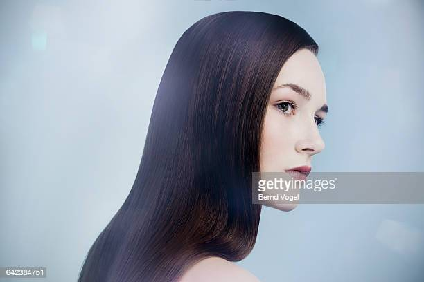 young beauty with long dark hair