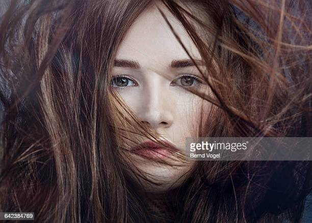 young beauty with wild hair