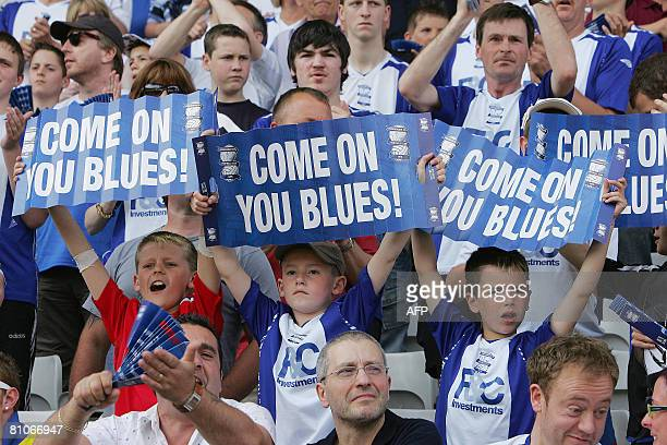 Young Birmingham City fans show their support during the team's English Premiership soccer match against Blackburn at Birmingham's St Andrew's...