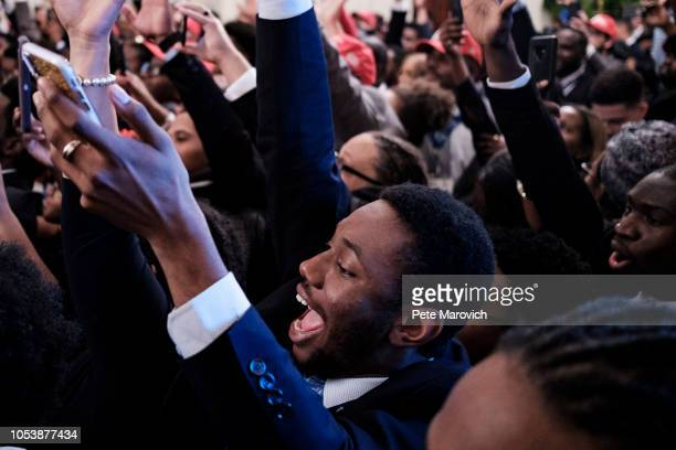 Young black conservative leaders from across the country cheer as US President Donald Trump speaks as part of the 2018 Young Black Leadership Summit...