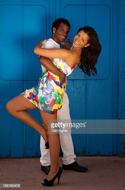 young black couple dancing salsa - salsa dancing stock photos and pictures