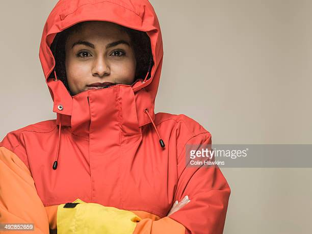 young black female in hiking jacket - jacket stock pictures, royalty-free photos & images