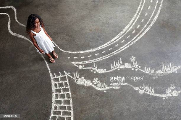 Young Black Girl choses a path
