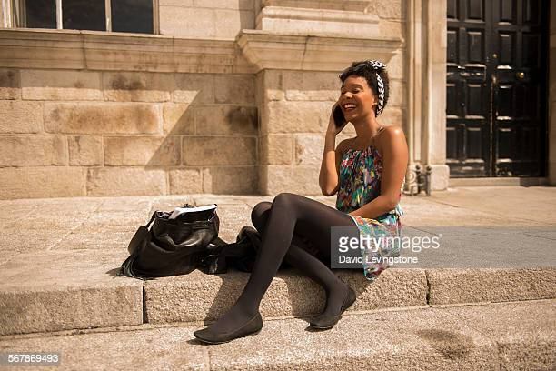 young black girl on mobile - funny black girl ストックフォトと画像