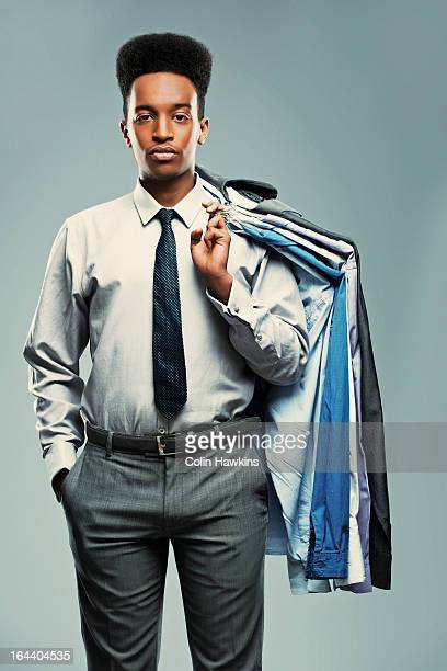 Young Black male with choice of shirts