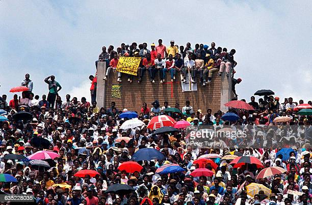 Young black South Africans gather at a rally celebrating Nelson Mandela's release from prison at a Soweto stadium.