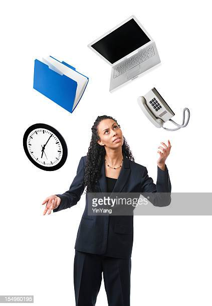 Young Black Woman Juggling, Multi-tasking Time, Occupation, Business, Work Stress