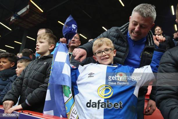 A young Blackburn Rovers supporter wearing a players shirt after the Sky Bet League One match between Charlton Athletic and Blackburn Rovers at The...