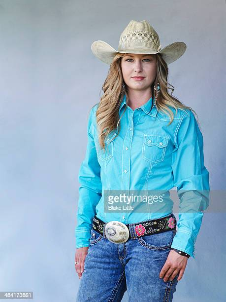 young blond cowgirl - cowboy hat stock pictures, royalty-free photos & images
