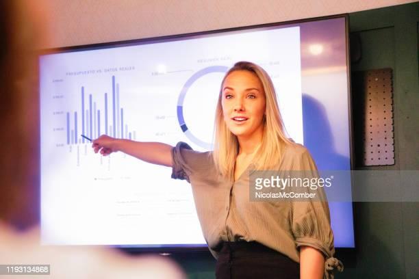 jonge blonde vrouwelijke manager met uitleg over kwartaalresultaten op groot led-scherm - directrice stockfoto's en -beelden