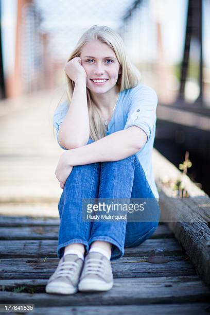 young blond hair girl - one teenage girl only stock pictures, royalty-free photos & images
