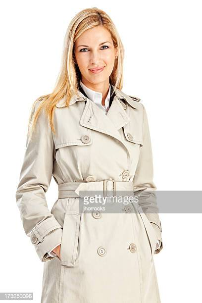 Young Blonde Businesswoman in Tan Trench Coat
