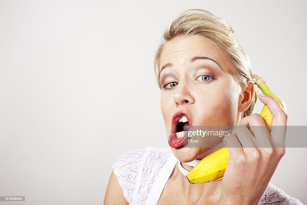 Petite blondes using bananas — 1