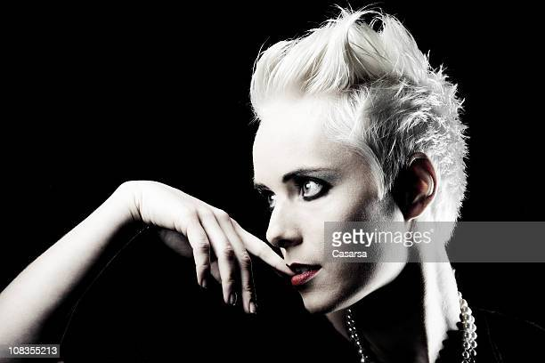 young blonde portrait - bleached hair stock photos and pictures