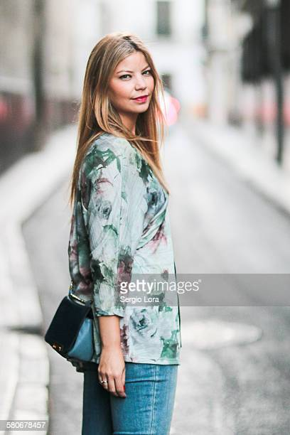 young blonde woman in the street - female models photo gallery stock photos and pictures