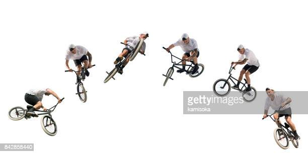 young bmx bicycle rider on white – isolated with clipping path - bmx cycling stock pictures, royalty-free photos & images
