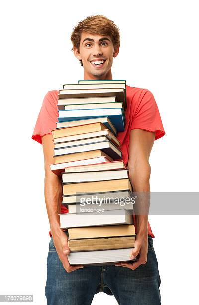 Young Book Carrying Stack Of Books - Isolated