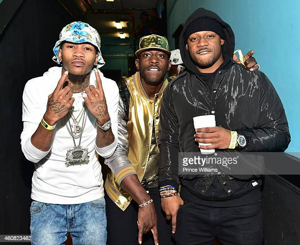 Young Booke, Dro and Spodie are seen backstage at the 5th annual Street execs Christmas concert at The Tabernacle on December 22, 2014 in Atlanta,...