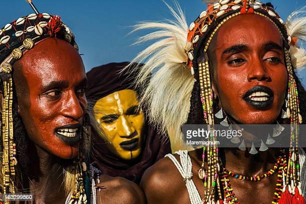Young Bororo men dancing during Gerewol