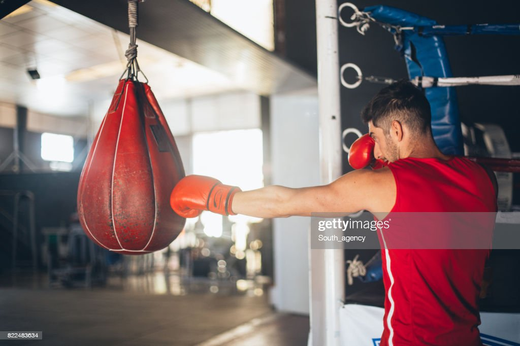 Young boxer punching the heavy bag in the gym : Stock Photo