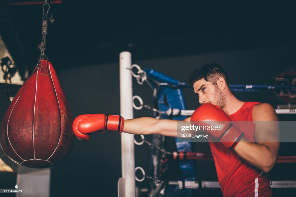 Young boxer punching the heavy bag : Stock Photo