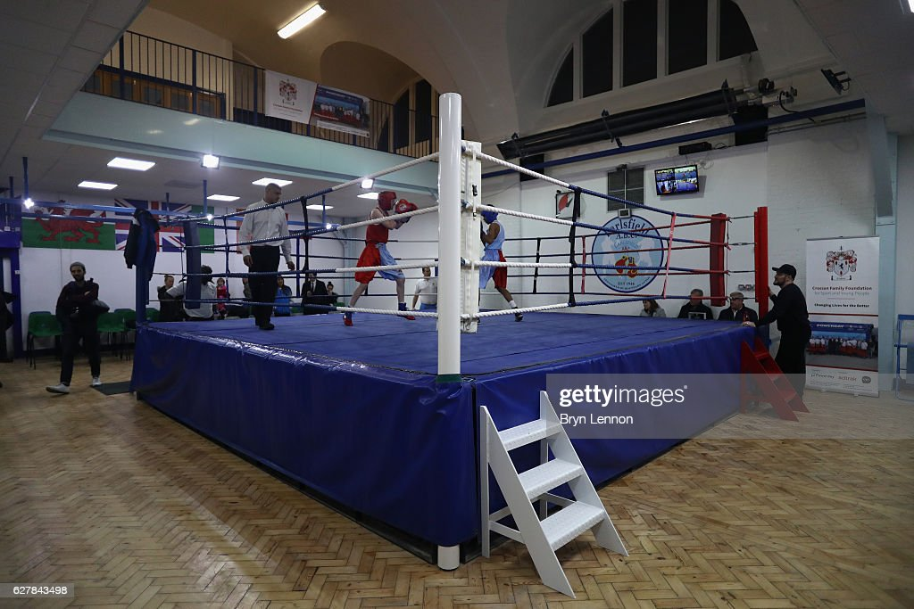 Young boxers demonstrate their skills during the Reopening of Earlsfield Amateur Boxing Club on December 5, 2016 in London, England.