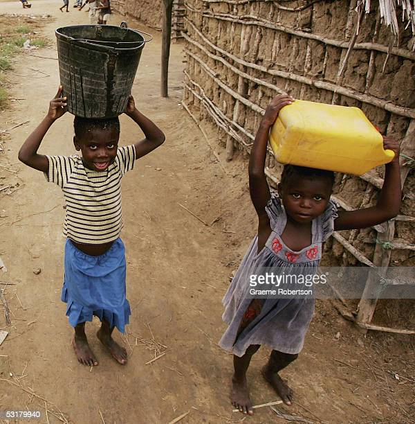 A young boy and girl carry water on June 30 2005 in Mozambique Since Mozambique's 15year civil war ended in 1992 the country has made a strong...