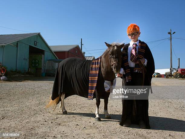 A young boy and his pony dressed in Harry Potter costumes at the Medina County Fair in Medina Ohio on August 1 2012 Photo by Lisa Wiltse