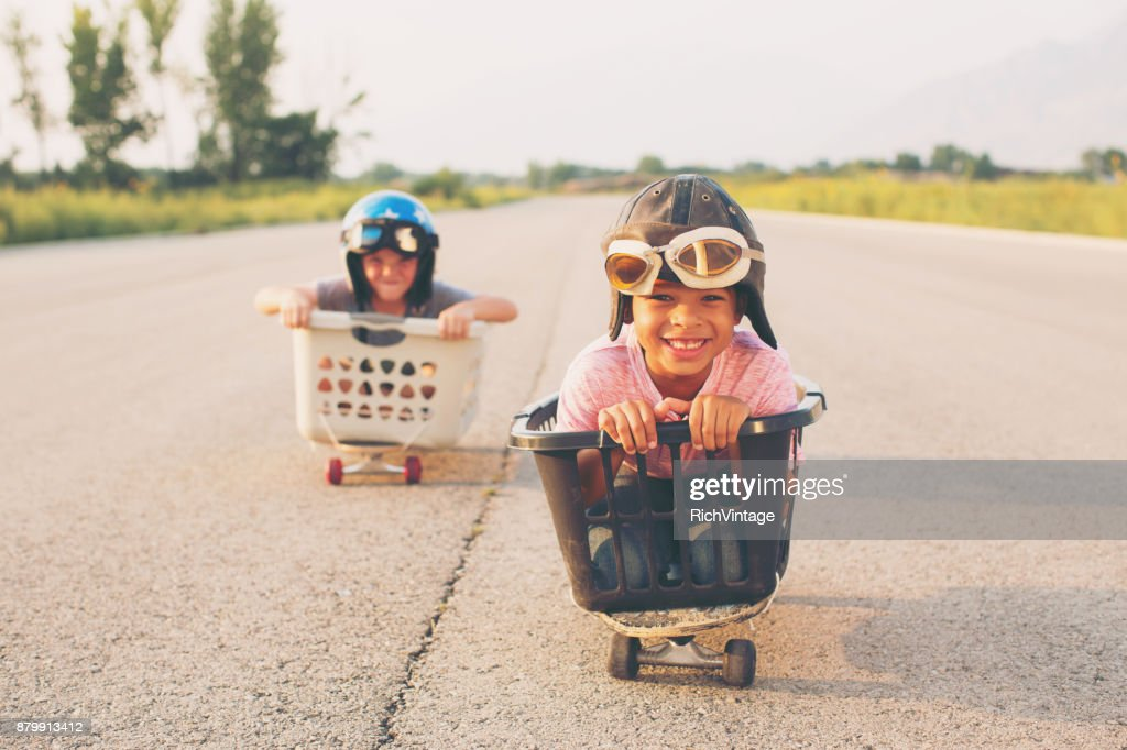 Young Boy Basket Racers : Stock Photo
