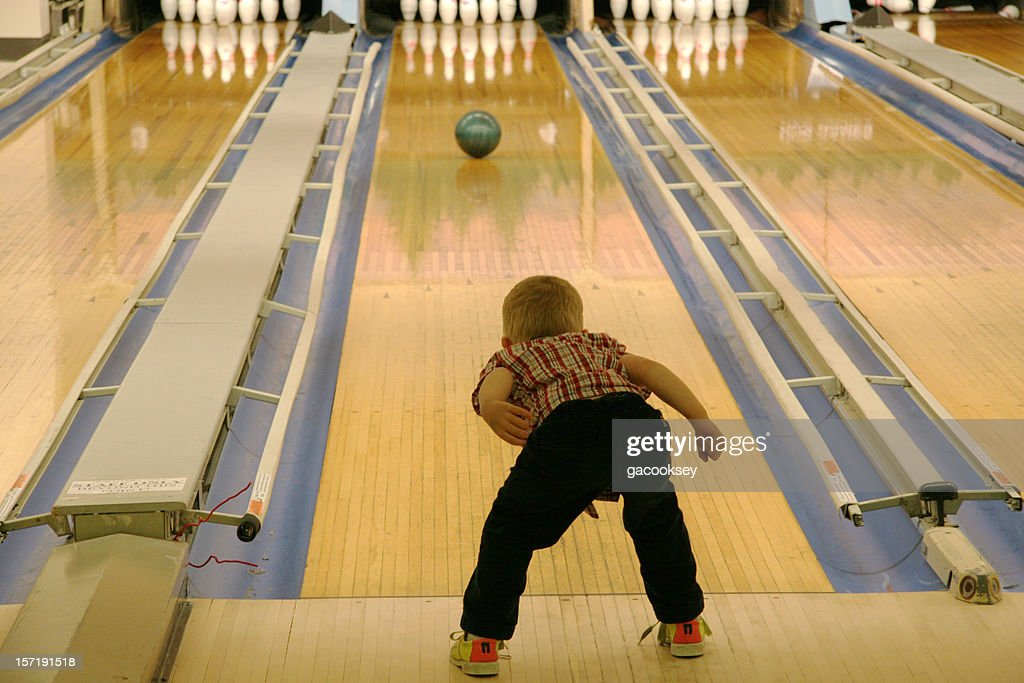young boy bowling : Stock Photo