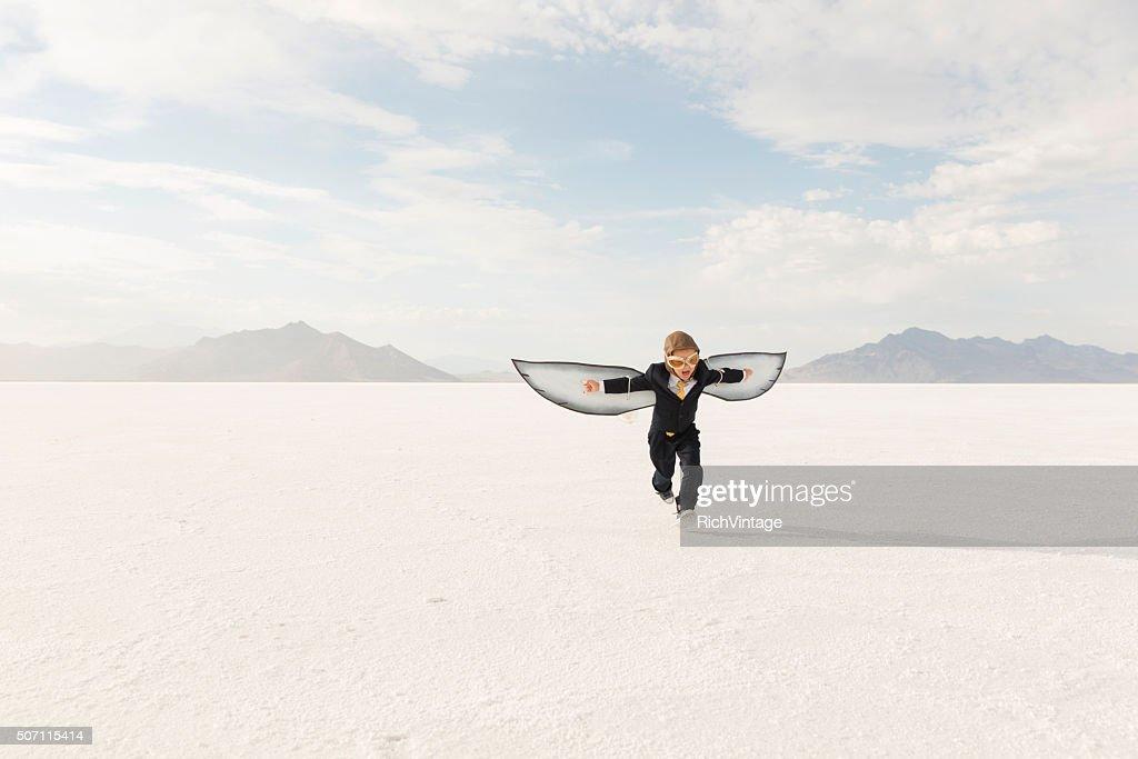 Jeune garçon Homme d'affaires, le Flying Away : Photo