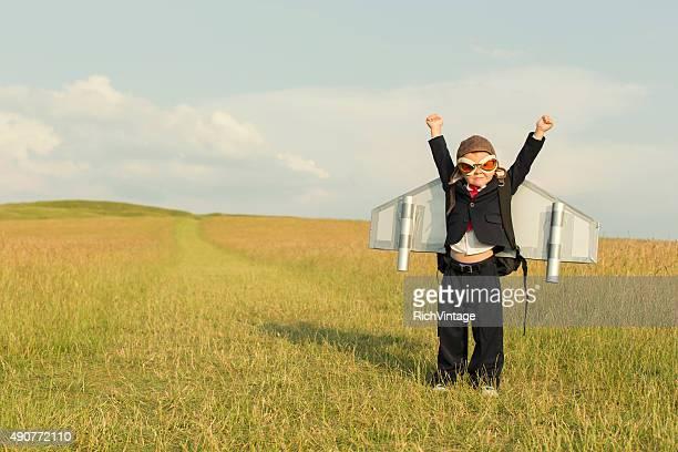 Young Boy empresario usando Jetpack en Inglaterra