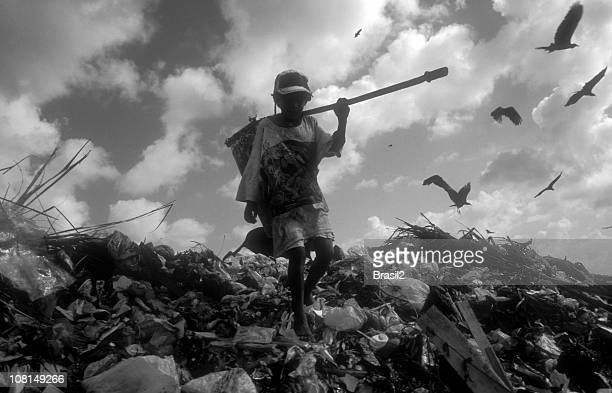 Young Boy Climbing and Picking Through Landfill