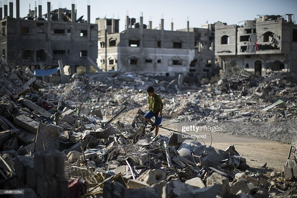 Scale Of Devastation Is Seen In Gaza As Tense Five Day Ceasefire Agreed : News Photo