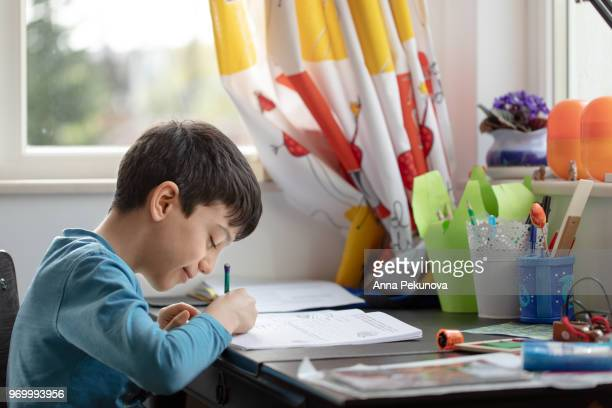 Young boy doing Maths at home
