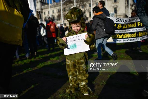 A young boy dressed as a dinosaur takes part in a Fridays for Future climate change rally on November 29 2019 in London England The youth strike...