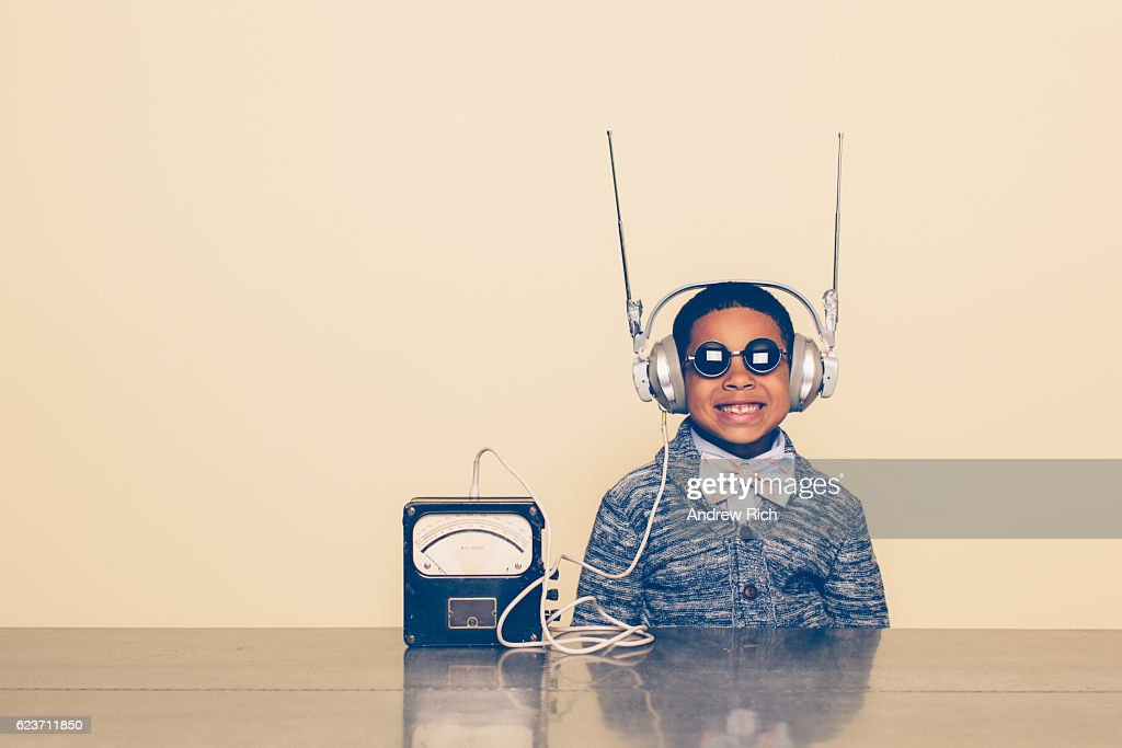 Young Boy Dressed as Nerd with Alien Headphones : Stock Photo