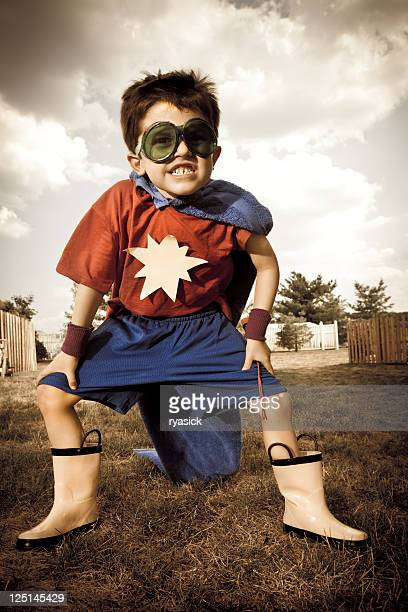Young Boy Dressed Up In Superhero Costume Crime Fighter