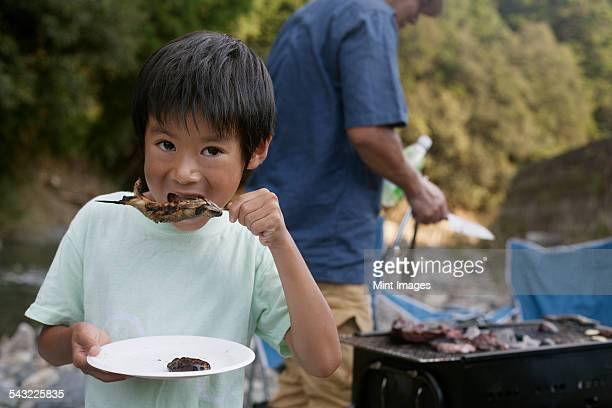 Young boy eating a grilled fish at a picnic.