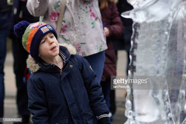 A young boy examines an ice sculpture celebrating the theme 'Fantastical Fiction and Fiction' on the biggest outdoor ice trail in the UK on February...