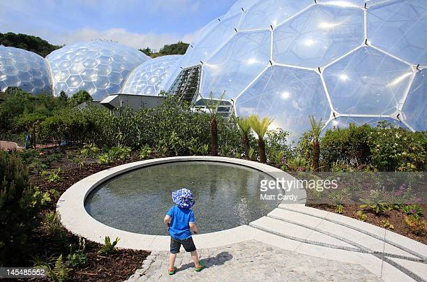 A young boy explores the latest attraction 'The Sense of Memory Garden' at the Eden Project near St Austell on May 31 2012 in Cornwall England The...