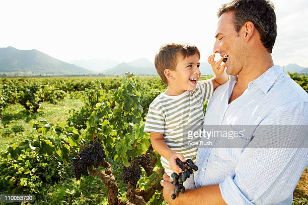 Young boy feeding father grapes