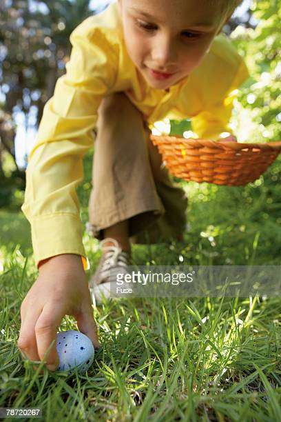Young Boy Finding an Easter Egg