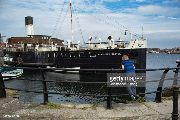 A young boy fishes next to Hartlepool Maritime Museum on September 4 2017 in Hartlepool England Hartlepool in the North East of England is one of the...