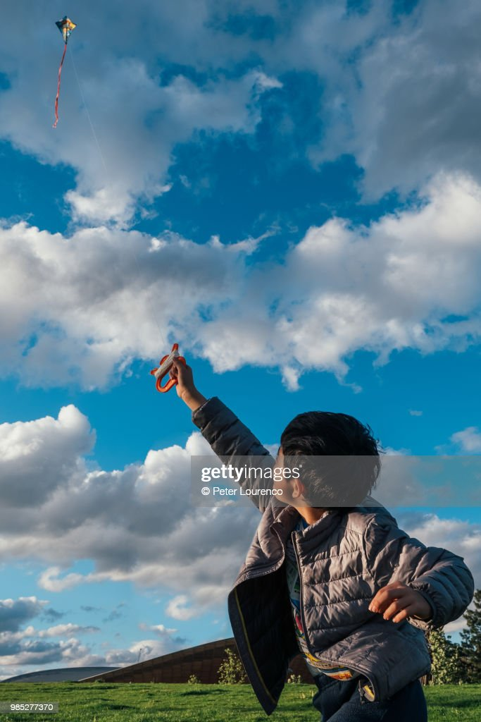 A young boy flying a kite : Stock-Foto